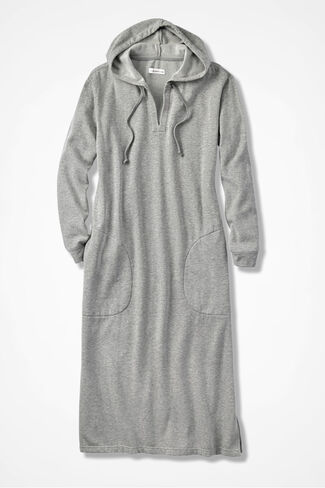 Hooded Sweatshirt Lounger, Heather Grey, large
