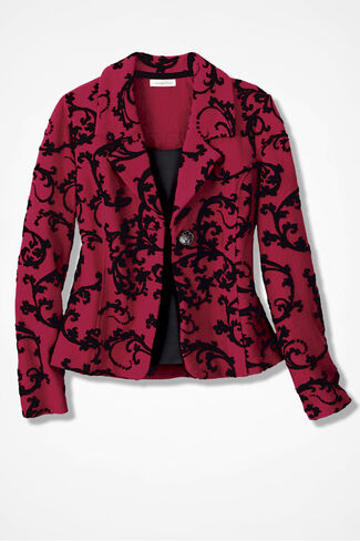 Velvet Scroll Boiled Wool Jacket, Fresh Red, large