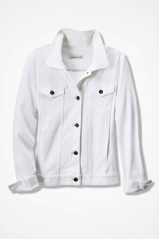 New Knit Denim Jacket, White, large