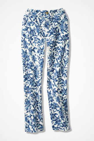 CottonLuxe® Printed Cropped Jeans, India Ink, large