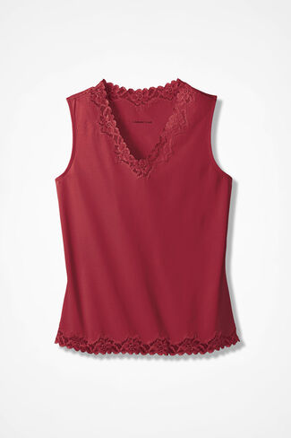 Double Lace Tank, Fresh Red, large