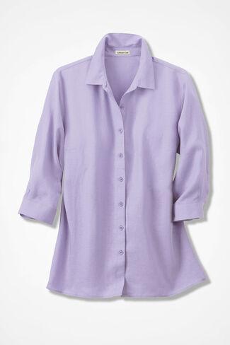 Linen Big Shirt, Pale Lavender, large