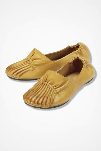 Pintuck Leather Flats, Amber, large