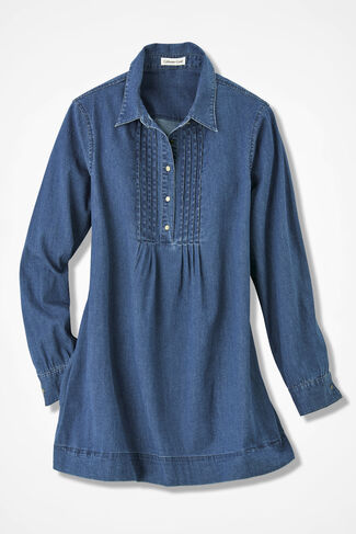 Tucked Denim Tunic, Indigo, large