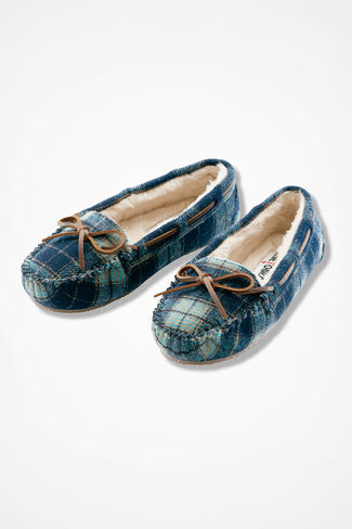 """Cally"" Moccasin By Minnetonka®, Navy Plaid, large"