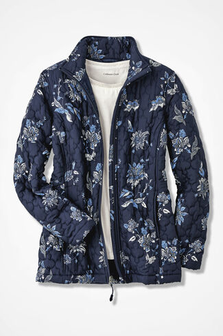 Snowblooms Quilted Jacket, Navy, large