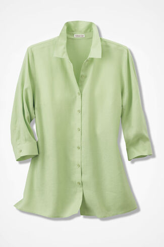 Sunwashed Linen Big Shirt, Peridot, large