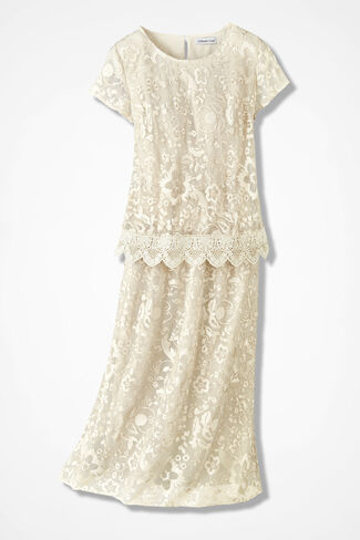 Lace Illusion Popover Dress, Vanilla, large