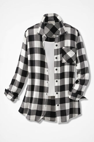 Wyoming Ramble Check Tunic, Ivory/Black, large