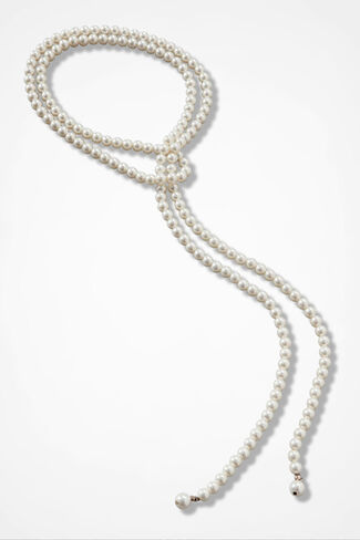 Fine Line Pearl Necklace, Gold, large