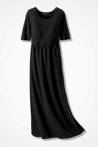 Supima® Long Story Maxi Dress, Black, large