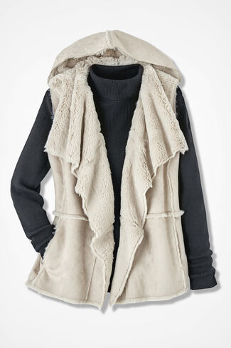 Faux Shearling Hooded Vest, Alabaster, large