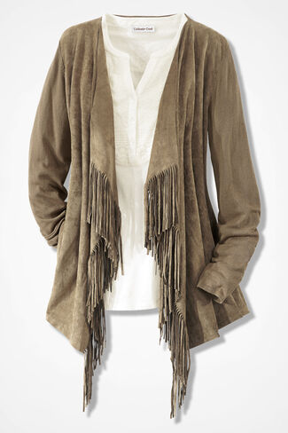 Mixed Medley Fringed Cardigan, Tan, large