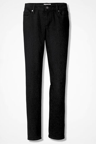Knit Denim Slim-Leg Jeans, Pitch Black Wash, large