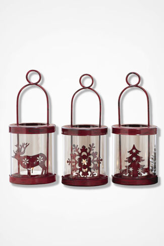 Lights of the Season Lantern Set, Red, large