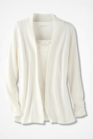 Classic Open Front Cardigan, Ivory, large