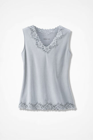 Double Lace Tank, Dove Grey, large