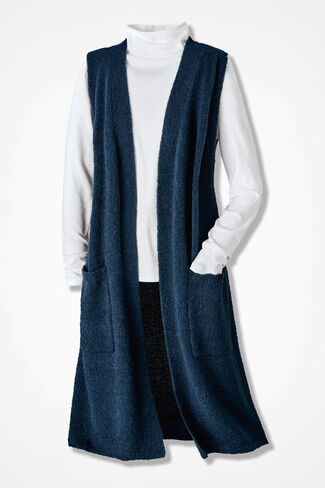 Bouclé Duster Vest, Navy, large