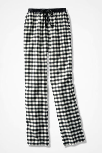 Buffalo Check Flannel PJ Pants, Ivory/Black, large