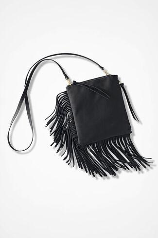 Fringed Crossbody Bag, Black, large
