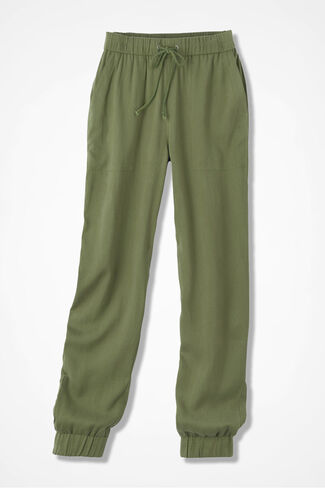 Tencel Banded-Bottom Ankle Pant, Loden, large