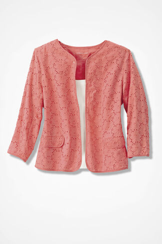 Fresh Eyelet Jacket, Coral Nectar, large