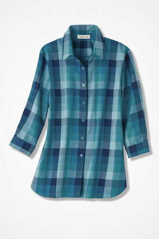Real Teal Plaid Easy Care Shirt, Teal, large