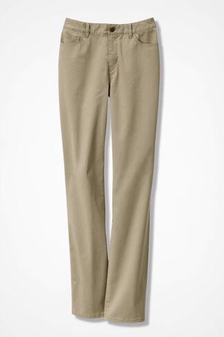 Washed CottonLuxe® Straight-Leg Pants, Dark Desert Khaki, large