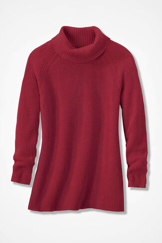 Shaker Turtleneck Tunic, Dover Red, large