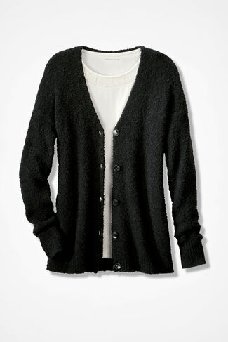 Boucle Cardigan, Black, large