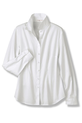 Classic Cotton Long Sleeve Shirt, White, large