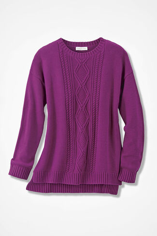 Wintertide Cabled Sweater, Boysenberry, large