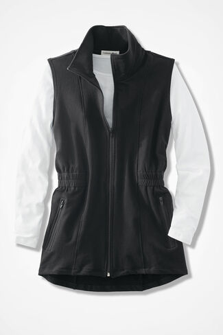 Shaped French Terry Vest, Black, large