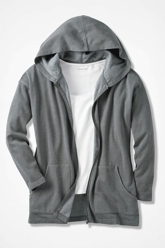 Colorwashed Fleece Full-Zip Jacket, Grey Dusk, large