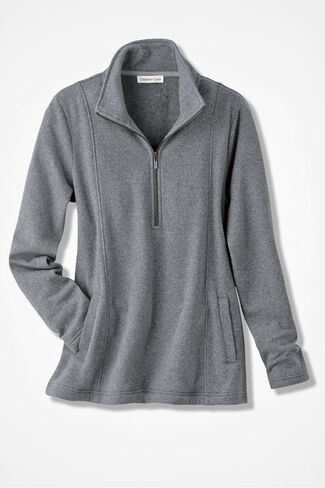 Crème de la Fleece Zip-Neck Pullover, Mid Heather Grey, large