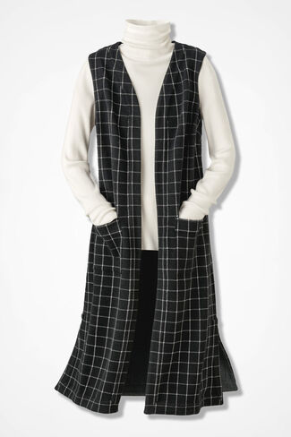Windowpane Plaid Textured Knit Vest, Black, large
