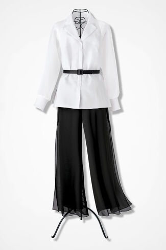 Tailored Elegance Pants Set by Alex Evenings, White, large