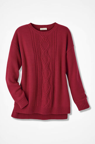 Wintertide Cabled Sweater, Dover Red, large
