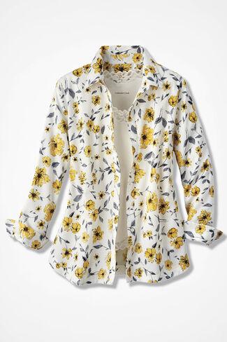 Sunny Marigolds Easy Care Shirt, Ivory, large