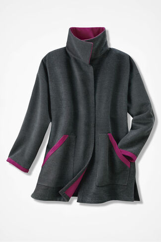 Double-Faced Fleece Coat, Charcoal, large