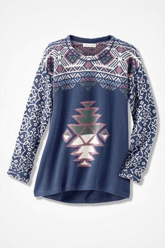 Southwest Heritage Sweater, Blue Indigo, large