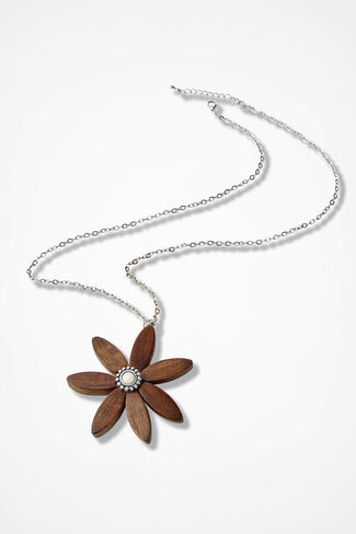 Boho Wood Flower Necklace, Brown, large