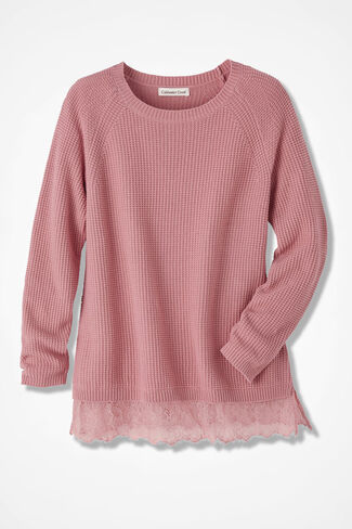 Touch of Lace Sweater, Wood Rose, large