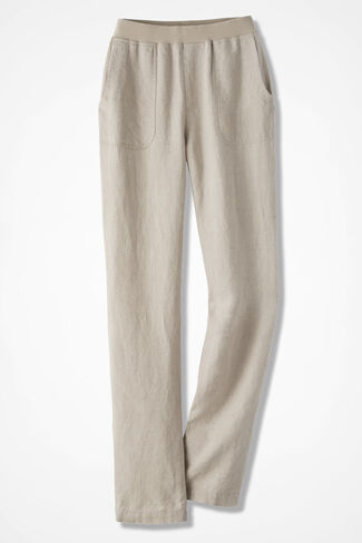 Easy Linen Pull-On Pants, Flax, large