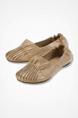 Pintuck Leather Flats, Dune, large
