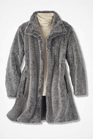 Faux Fur Swing Coat, Brown, large