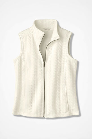 Cable Zip-Front Vest, Seasalt, large
