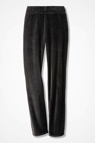 Velour du Jour Slim-Leg Pants, Black, large