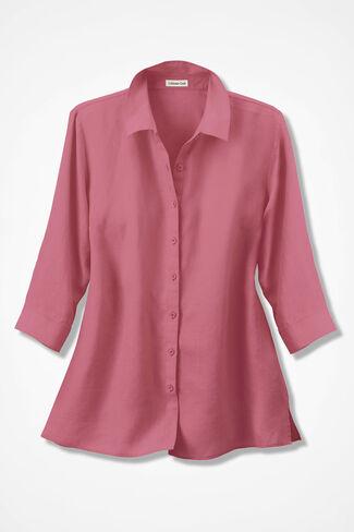 Linen Big Shirt, Hibiscus, large