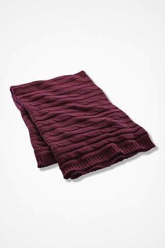 Comfy Cabled Cotton Throw, Burgundy, large